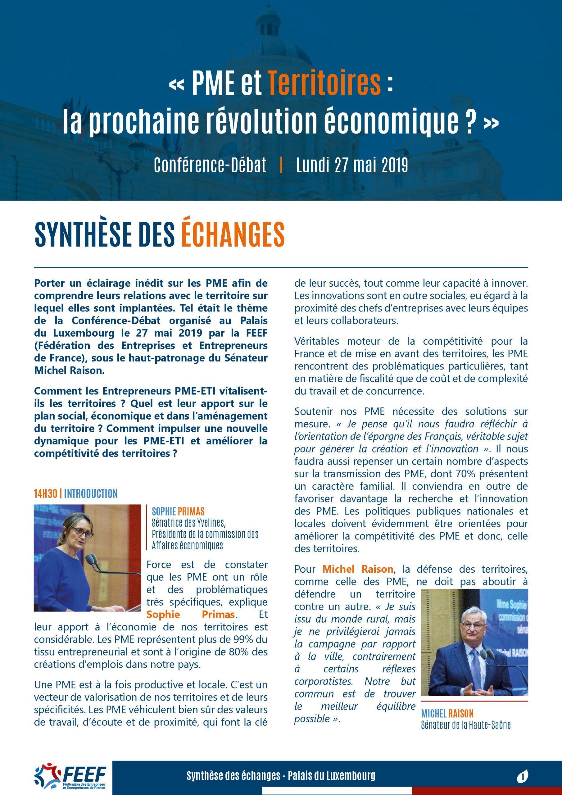 Synthèse Conférence-Débat : PME et Territoires
